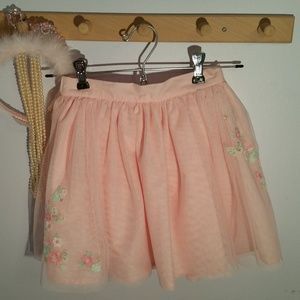 Carters Size 7 Pale Pink Gauze Flowered Skirt